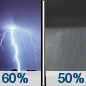 Tonight: Showers and thunderstorms likely before 7pm, then showers likely and possibly a thunderstorm between 7pm and midnight, then a chance of showers and thunderstorms after midnight.  Mostly cloudy, with a low around 73. South wind 6 to 13 mph.  Chance of precipitation is 60%.