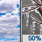 Wednesday: A chance of freezing rain after noon.  Mostly cloudy, with a high near 32. North northeast wind 8 to 11 mph.  Chance of precipitation is 50%.