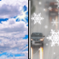 Tuesday: A slight chance of rain and snow showers after noon.  Partly sunny, with a high near 39.