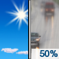 Saturday: A chance of rain after 1pm.  Increasing clouds, with a high near 45. Calm wind becoming south around 6 mph in the afternoon.  Chance of precipitation is 50%.
