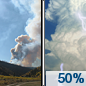 Thursday: A 50 percent chance of showers and thunderstorms after noon.  Areas of smoke. Increasing clouds, with a high near 75. West wind 5 to 10 mph.