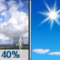Friday: A chance of showers and thunderstorms before 9am.  Sunny, with a high near 33. Chance of precipitation is 40%.