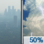 Thursday: A chance of showers and thunderstorms between noon and 3pm, then a slight chance of thunderstorms after 3pm. Some of the storms could produce gusty winds.  Widespread haze. Partly sunny, with a high near 74. Southwest wind 8 to 14 mph, with gusts as high as 25 mph.  Chance of precipitation is 50%.