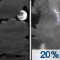 Tonight: A 20 percent chance of showers and thunderstorms after 1am.  Mostly cloudy, with a low around 58. West wind 5 to 8 mph becoming calm  after midnight.