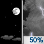 Monday Night: A 50 percent chance of showers and thunderstorms after 1am.  Increasing clouds, with a low around 57. West wind around 5 mph becoming calm  in the evening.