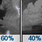 Wednesday Night: Showers and thunderstorms likely before 8pm, then a chance of showers.  Mostly cloudy, with a low around 58. Chance of precipitation is 60%.