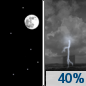 Thursday Night: A 40 percent chance of showers and thunderstorms after 1am.  Increasing clouds, with a low around 68. North wind around 5 mph becoming calm.