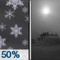 Wednesday Night: A 50 percent chance of snow before 11pm.  Patchy blowing snow. Mostly cloudy, with a low around 7. Wind chill values as low as -8. Windy, with a north northeast wind 23 to 30 mph, with gusts as high as 41 mph.  New snow accumulation of less than a half inch possible.