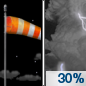 Tonight: A 30 percent chance of showers and thunderstorms after 2am.  Partly cloudy, with a low around 66. Breezy, with a south southeast wind 10 to 20 mph, with gusts as high as 28 mph.  New rainfall amounts of less than a tenth of an inch, except higher amounts possible in thunderstorms.