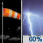 Tonight: Showers and thunderstorms likely, mainly after 4am.  Increasing clouds, with a low around 71. Breezy, with a south southeast wind 15 to 20 mph, with gusts as high as 30 mph.  Chance of precipitation is 60%. New rainfall amounts between a quarter and half of an inch possible.