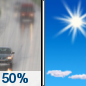 Sunday: A 50 percent chance of rain before 11am.  Mostly cloudy, then gradually becoming sunny, with a high near 56. West wind 9 to 14 mph, with gusts as high as 33 mph.  New precipitation amounts of less than a tenth of an inch possible.
