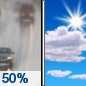 Tuesday: A 50 percent chance of rain before noon.  Partly sunny, with a high near 46. East wind around 15 mph.