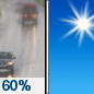 Wednesday: Rain likely, mainly before 7am.  Mostly sunny, with a high near 62. North wind around 5 mph becoming west in the afternoon.  Chance of precipitation is 60%.