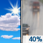 Sunday: A 40 percent chance of rain, mainly after 2pm.  Partly sunny, with a high near 53.