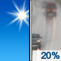 Sunday: A 20 percent chance of rain after noon.  Sunny, with a high near 62. Southwest wind 6 to 15 mph becoming west northwest in the afternoon. Winds could gust as high as 25 mph.