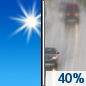 Today: A 40 percent chance of rain, mainly after 4pm.  Increasing clouds, with a high near 61. South wind 6 to 9 mph becoming west northwest in the afternoon.