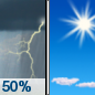 Friday: A 50 percent chance of showers and thunderstorms before 11am. Some of the storms could be severe.  Mostly sunny, with a high near 74. West wind 10 to 15 mph, with gusts as high as 25 mph.  New precipitation amounts between a tenth and quarter of an inch, except higher amounts possible in thunderstorms.