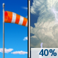 Wednesday: A 40 percent chance of showers and thunderstorms after noon.  Mostly sunny, with a high near 46. Breezy.