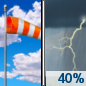 Sunday: A 40 percent chance of showers and thunderstorms, mainly after 4pm. Some of the storms could be severe.  Partly sunny, with a high near 79. Windy, with a south wind 13 to 21 mph, with gusts as high as 30 mph.