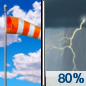 Saturday: Showers and thunderstorms. Some of the storms could be severe and produce heavy rainfall.  High near 91. Heat index values as high as 99. Breezy, with a south wind 15 to 25 mph, with gusts as high as 35 mph.  Chance of precipitation is 80%. New rainfall amounts between a quarter and half of an inch possible.