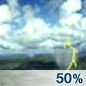 Scattered Thunderstorms Chance for Measurable Precipitation 50%