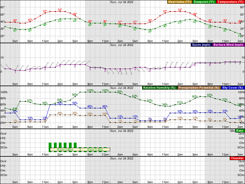 Hourly Weather Forecast for 19 45N 155 64W (Elev  12054 ft)