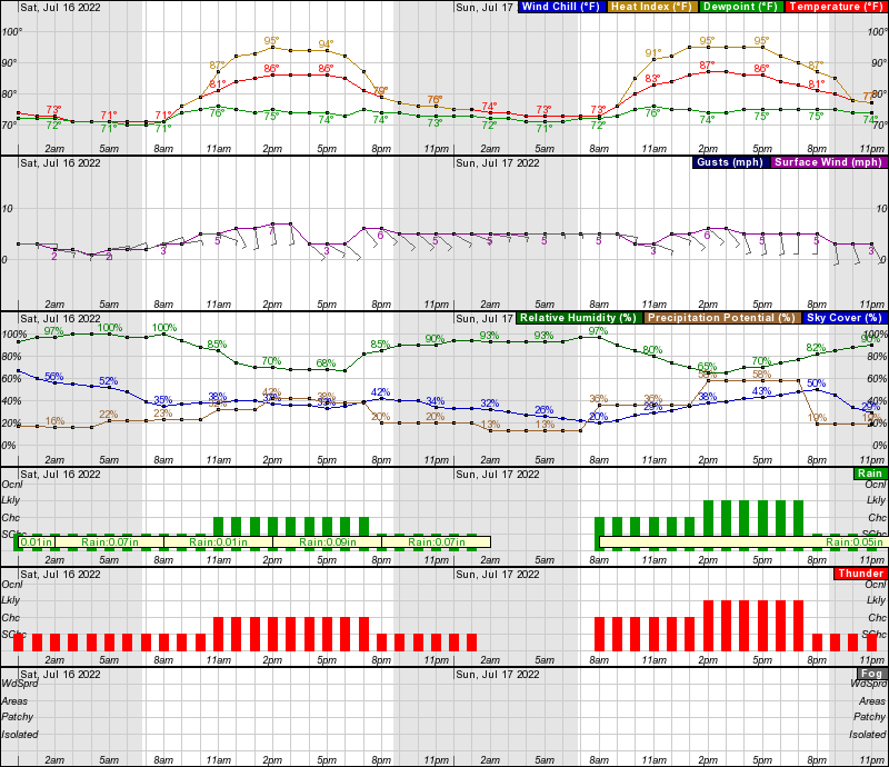 Daily Tallahassee Forecast Graph