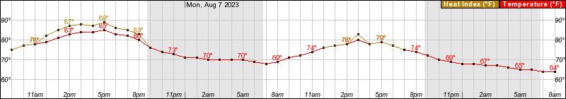 48 hour temperature forecast