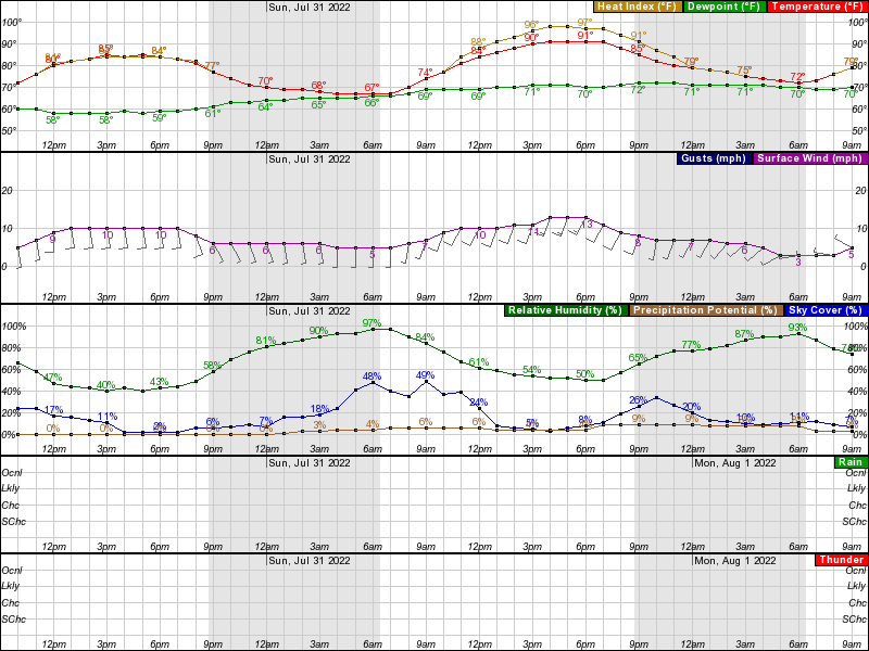Lincoln Hourly Weather Forecast Graph