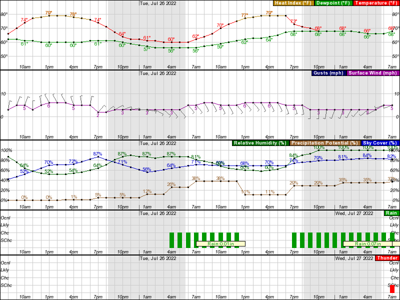 Rensselaer Hourly Weather Forecast Graph