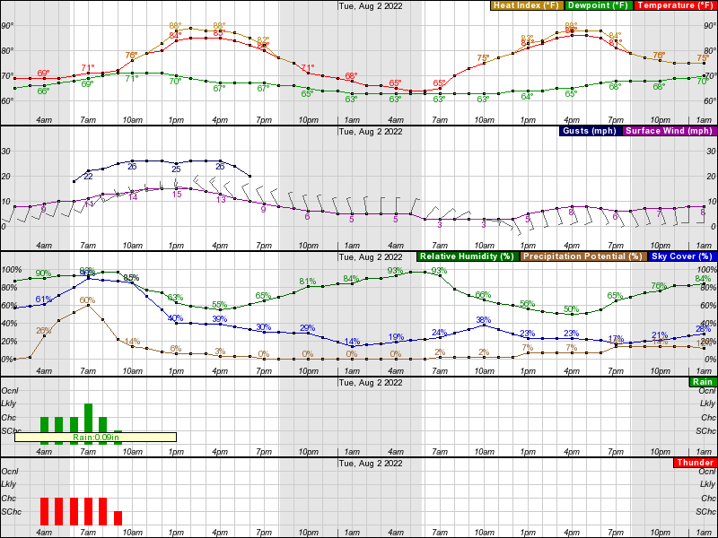 Valparaiso Hourly Weather Forecast Graph