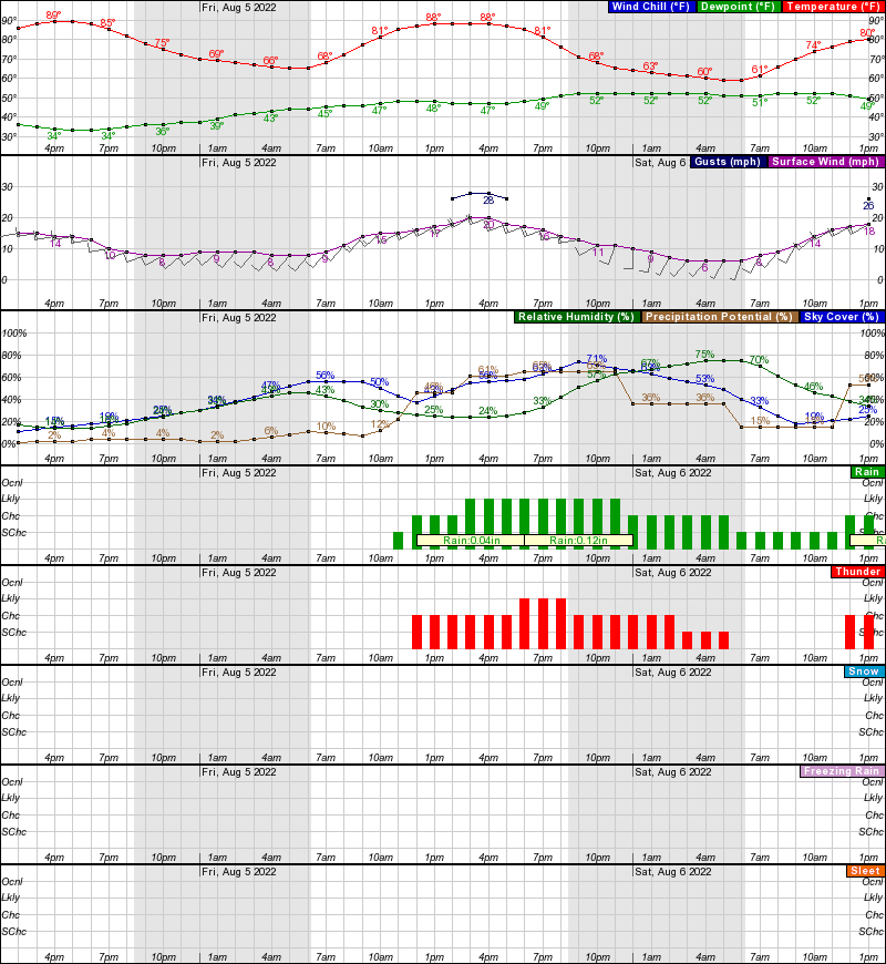 Rawlins Hourly Weather Forecast Graph