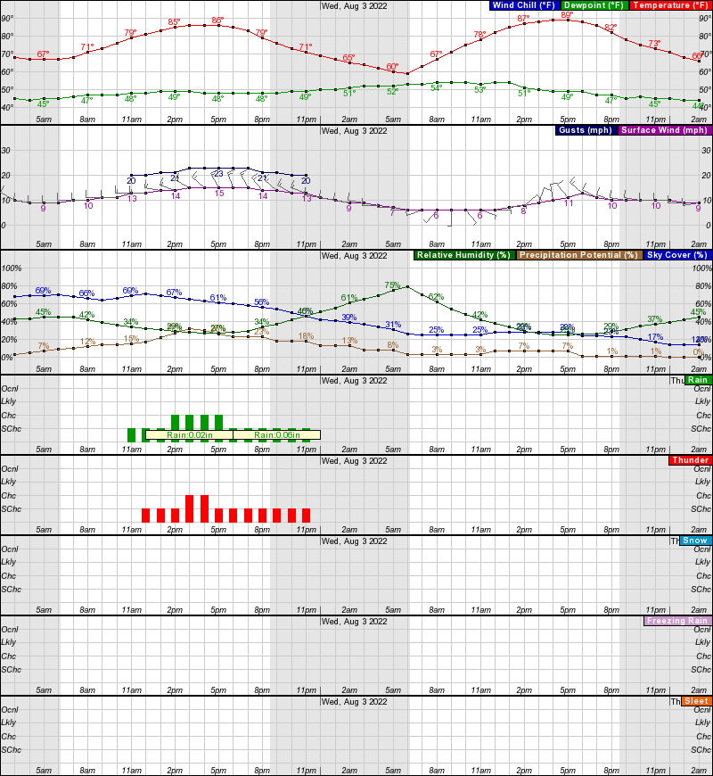 Riverton Hourly Weather Forecast Graph