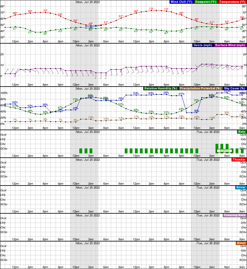 Tok Hourly Weather Forecast Graph