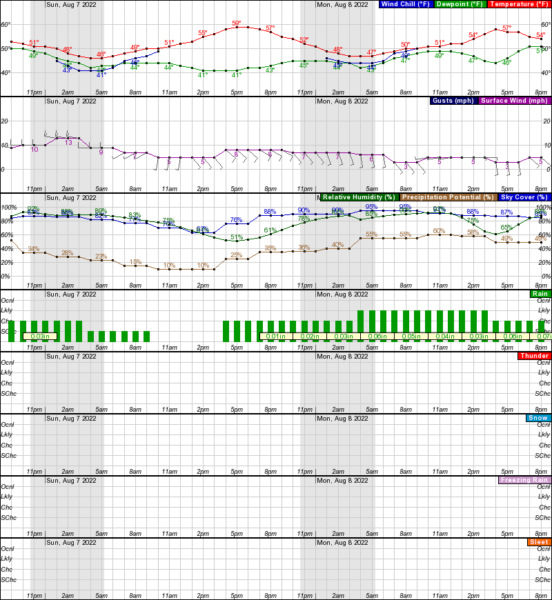 Salcha Hourly Weather Forecast Graph