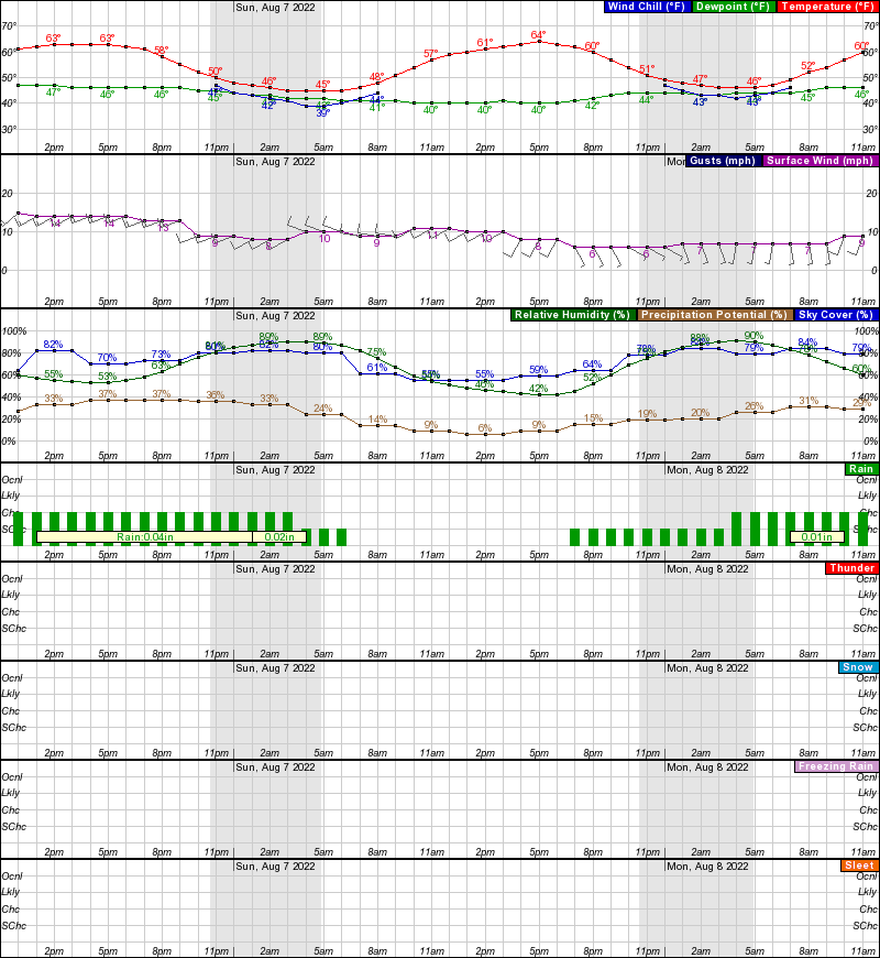 Circle Hourly Weather Forecast Graph