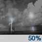 Wednesday Night: A 50 percent chance of showers and thunderstorms before 2am.  Partly cloudy, with a low around 55.