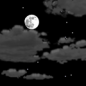 Partly cloudy, with a low around 44. Light and variable wind becoming west 5 to 7 mph after midnight.
