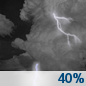 Tuesday Night: A 40 percent chance of showers and thunderstorms before 1am.  Mostly cloudy, then gradually becoming mostly clear, with a low around 53. Northwest wind 5 to 10 mph.