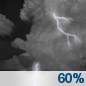 Showers and thunderstorms likely before 2am, then a slight chance of showers.  Mostly cloudy, with a low around 70. Chance of precipitation is 60%.