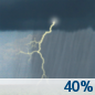 This Afternoon: A chance of showers and thunderstorms. Some storms could be severe, with large hail and damaging winds.  Mostly cloudy, with a high near 80. Southwest wind around 11 mph.  Chance of precipitation is 40%. New rainfall amounts between a tenth and quarter of an inch, except higher amounts possible in thunderstorms.