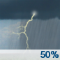 Today: A chance of showers and thunderstorms.  Mostly cloudy, with a high near 84. Southwest wind around 6 mph.  Chance of precipitation is 50%. New rainfall amounts of less than a tenth of an inch, except higher amounts possible in thunderstorms.