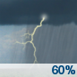 Wednesday: Showers and thunderstorms likely.  Cloudy, with a high near 80. Chance of precipitation is 60%.