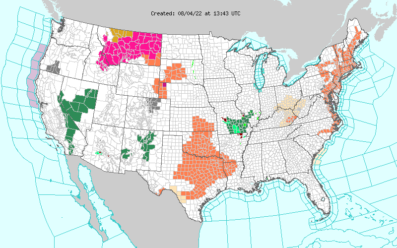 Link to US Map of Warnings, Watches and other hazards.