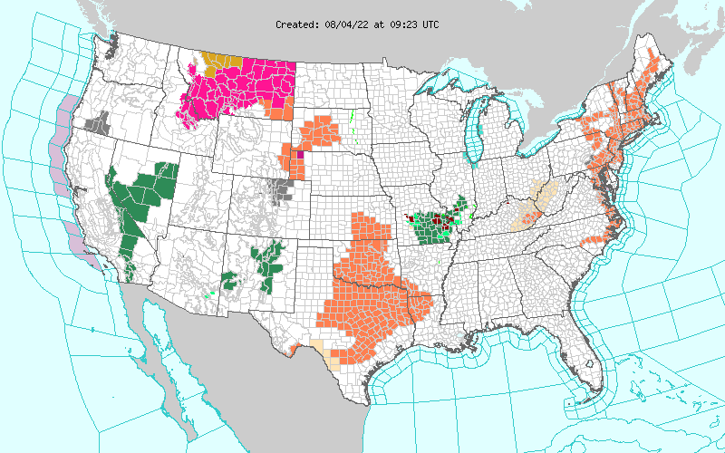 National Warning Watch Advisory Map