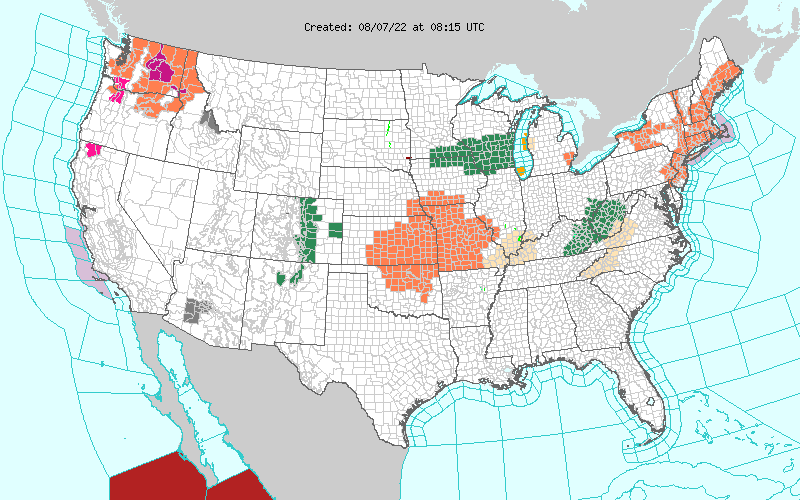 Current National Weather Service Warnings/Watches/Special Weather Statements That Are In Effect.
