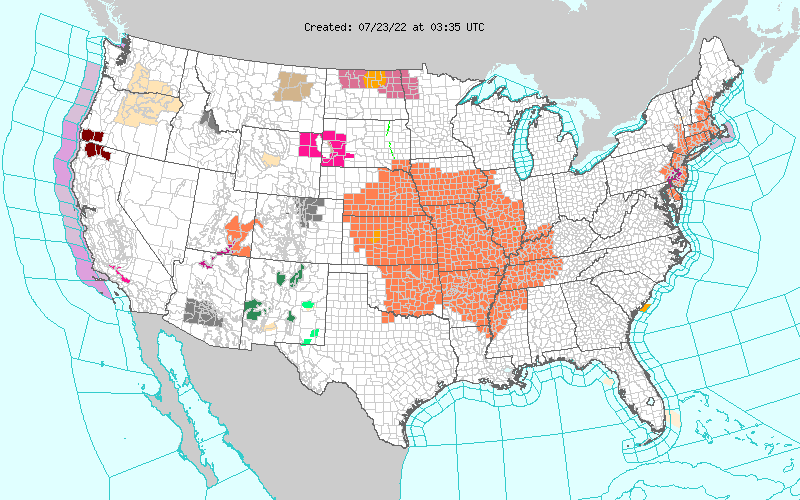 NWS Watches & Warnings In Effect.