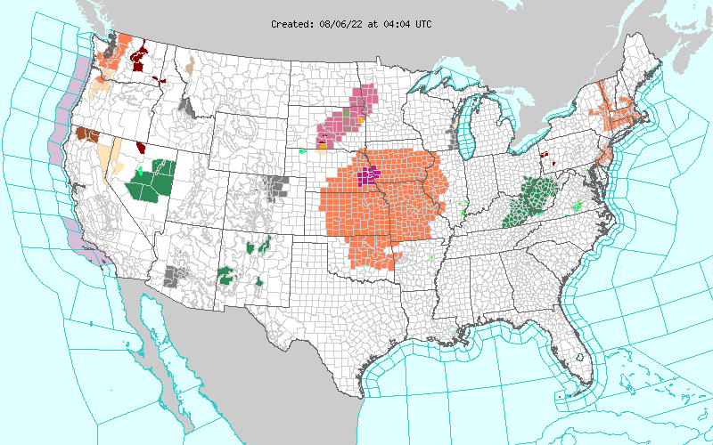 Current Hazardous Weather Watches, Warnings, and Advisories