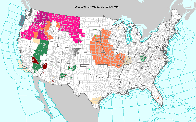 Current Watches, Warnings and Advisories Map