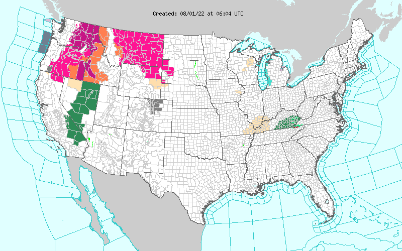 Map of Warnings and Advisories